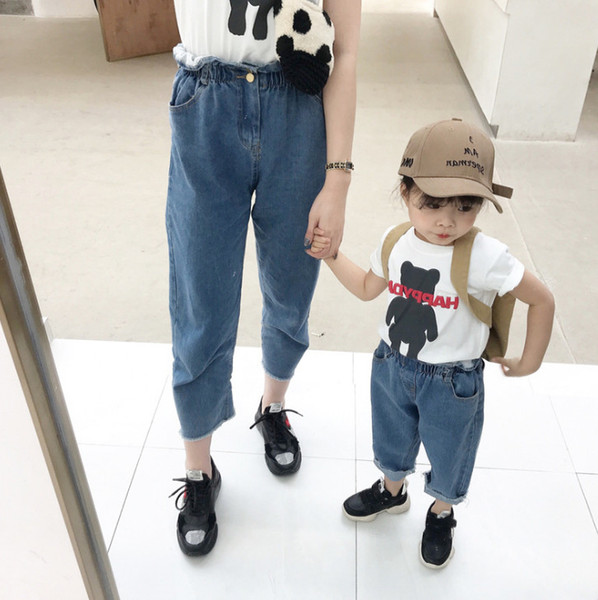 Mommy and me matching outfits 2019 fashion kids jeans girls double pocket ruffle elastic denim pants children casual trouser F6350