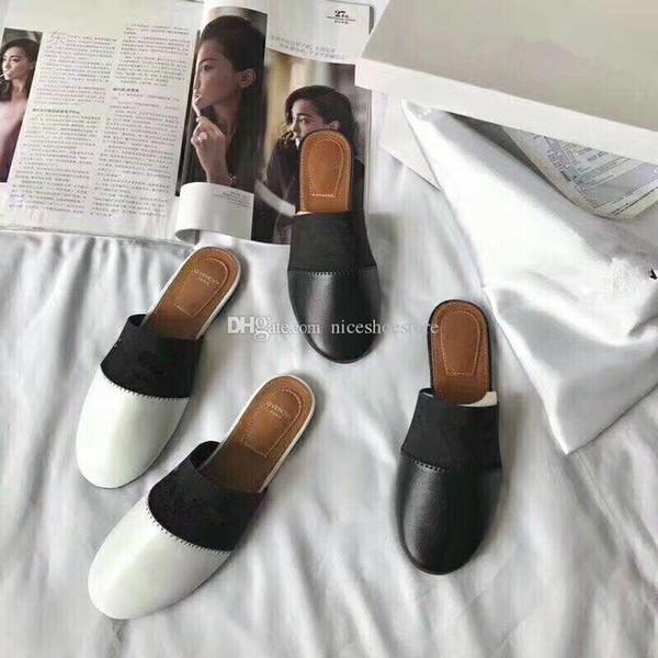 2018 New Luxury Designer Women Genuine Leather Lambskin Flats Mules Slides Brand Woman slippers with Letter black white golden slipper mule