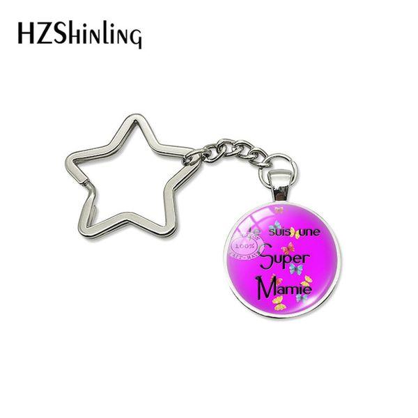 2019 New Fashion Super Mamie Grandma Star Key Chains Holder Glass Dome Pendant Letter Pattern Design Keyring Keychanis Jewelry