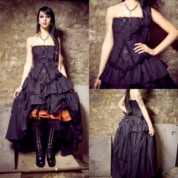 Abiti da sposa vittoriani 2019 New Steampunk Gothic Lolita Inspired Vampire Abiti da sposa personalizzati neri Abiti da cerimonia taglie forti