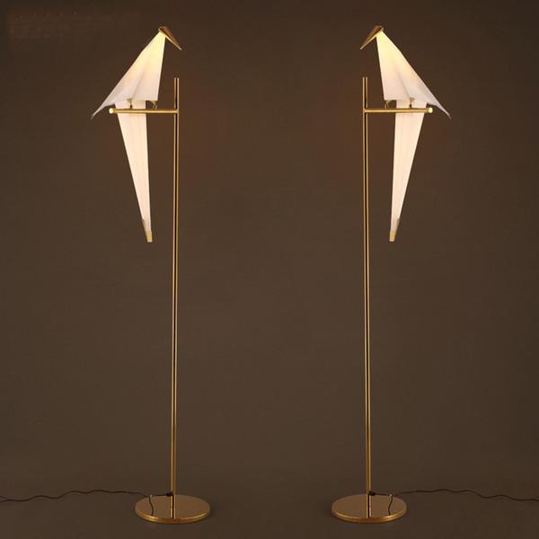 Art Deco Bird Paper Lampada da terra Camera da letto Studio soggiorno lampada da tavolo origami luce studio comodino tavolo da lettura lampada da terra d'oro