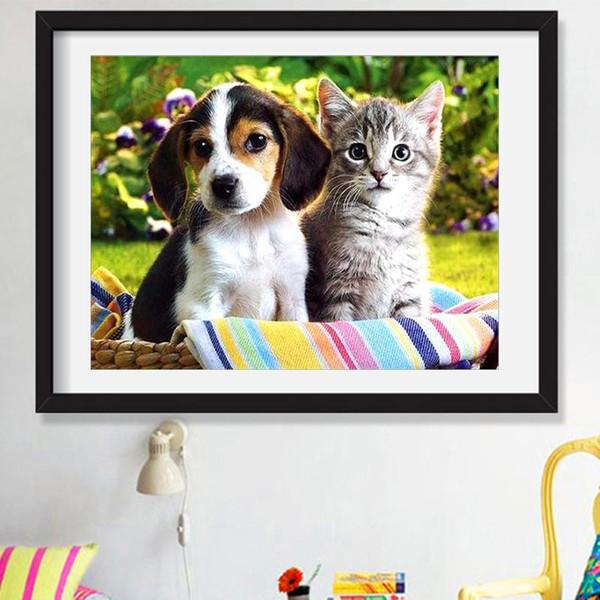 New cat dog diamond painting embroidery animal mosaic landscape full set of diamond DIY cross stitch living room study decoration