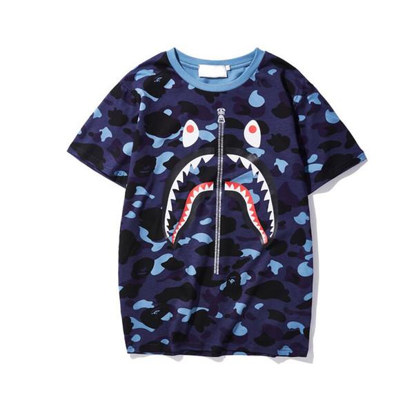 2019 Yaz Lüks T-shirt Erkek Tasarımcı Tişörtleri Ile Kamuflaj Baskı Nefes Kısa Kollu Erkekler ve Kadınlar Ile Tees Tops 5 Renkler M-3XL