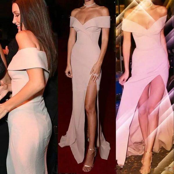 Sexy Lado Alto Dividir Rosa Vestidos de Baile Simples Fora Do Ombro Bainha Andar de Comprimento-Comprimento Barato Vestido de Festa Desgaste da Noite Vestidos Longos Árabe