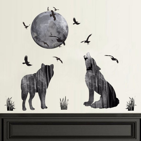Creative 3D Wolf Moon Birds Wall Stickers Home Decor Bedroom TV Sofa Wall Decals Removable PVC Wallpaper Animal Art Mural Poster