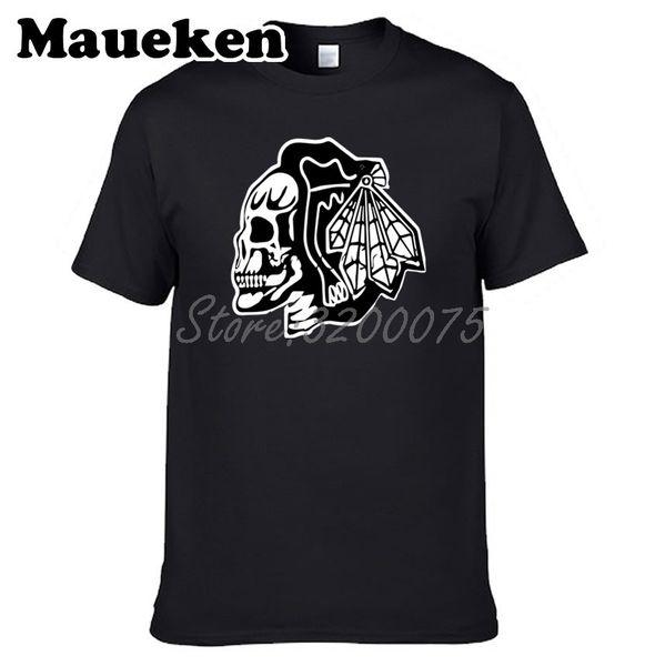 Мужчины черепа поклонников игры 100% хлопок футболки футболки футболки с круглым вырезом хлопка с коротким рукавом вентиляторы футболка W0518138