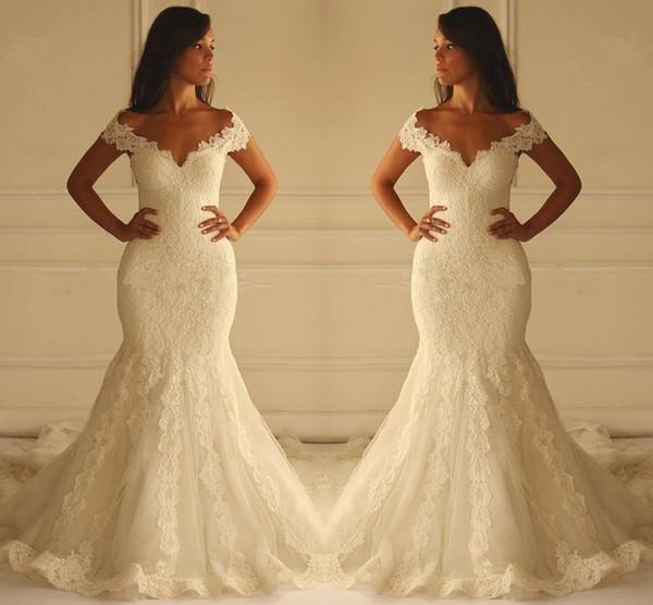 Venta caliente de sirena vestidos de novia apliques de encaje de la vendimia vestidos de novia con cuello en v fuera del hombro hueco trasero por encargo más tamaño novias desgaste