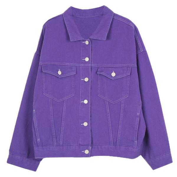 Harajuku BF Stil Kadınlar Ve Erkekler Denim Ceket Vintage Boy Bayanlar Mor Pardesü Tek göğüslü Jeans Coats outwears