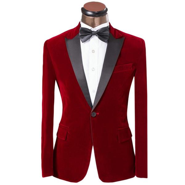 Moda Aveludado Noivo Smoking Pico Lapela Padrinhos Homens Vestido de Casamento Homem Jaqueta Blazer Prom Jantar 2 Peça Terno (Jaqueta + calça + Gravata) A55