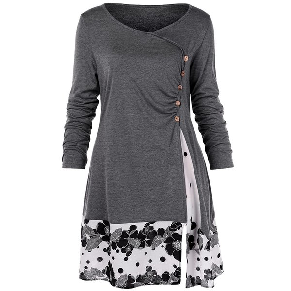 Plus Size 5xl Draped Floral Long Tunic Shirts Long Sleeve O-neck Buttons Embellished Women Blouse Spring Casual Tops Tee T319053003