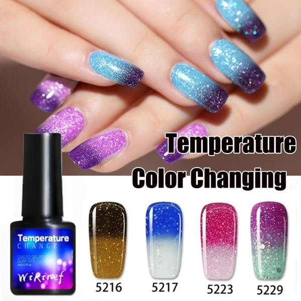 Glitter Shinny Shimmer Nail Laque Gel Nail Température Changement de couleur Vernis à Manucure à base d'eau Vernis Thermique 8 ml