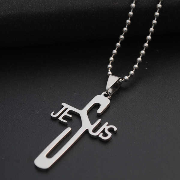 10pcs Jesus Letter Stainless Steel Necklace Alphabet Initial Word Savior Cool Faith Religious Christian Cross Necklaces for Men