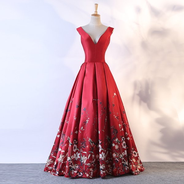 Charming Sexy 2019 Printed Evening Dresses V-neck A-line Satin Prom Dresses Elegant Cheap Formal Party Bridesmaid Pageant Gowns