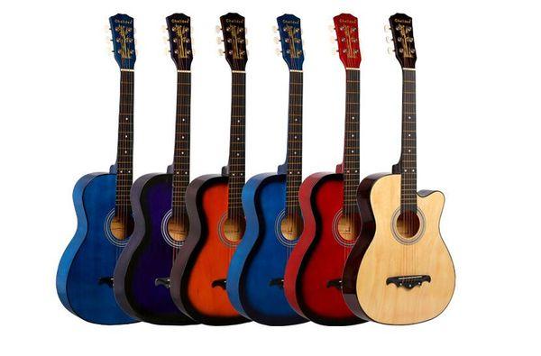 ücretsiz kargo özel 38 inç akustik gitar popüler başlayanlar ıhlamur gitar çalışıyor başlarken