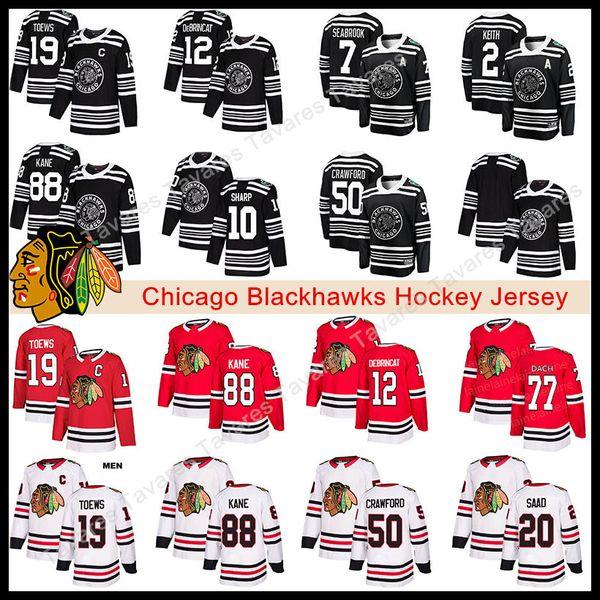 2019 winter cla ic chicago blackhawk jer ey 19 jonathan toew 88 patrick kane 12 alex debrincat titched 2 duncan keith hockey jer ey