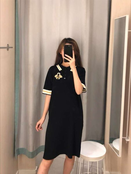 2019 New Arrival Women's Dress Brand Cloth for Summer Short Sleeve with Animal Bee Embroidery Casual Fashion Dress with One Size Availiable