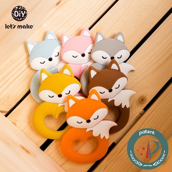 Let's Make 6pcs Baby Teether Tiny Rod Food Grade Silicone Teething For Baby Teeth Cartoon Fox Animals Shape Silicone TeethersMX190910