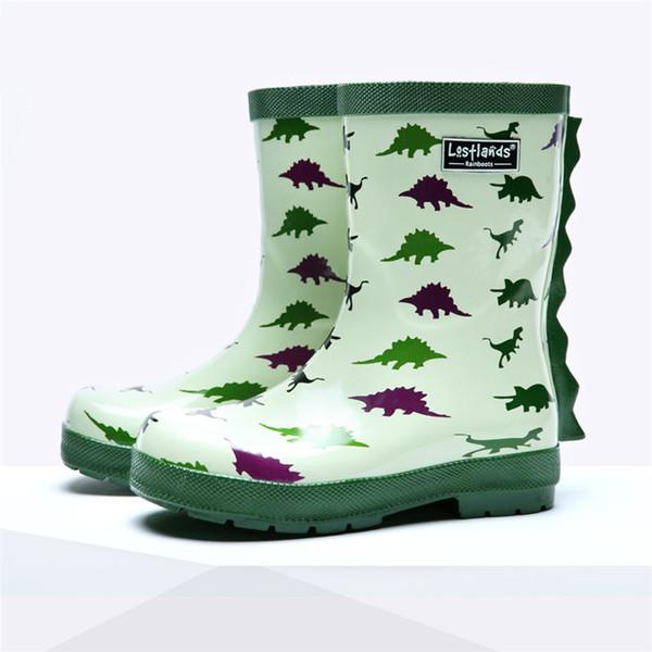 Acheter Maggie Garçons Walker Bande Dessinée Dinosaure Enfants Bottes De Pluie Mode Caoutchouc Vert Enfants Dinosaure Imperméable Couvre Chaussures