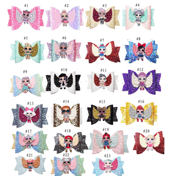 24 Colors LOLSurprise Girls Hairpin Baby Sequin Glitter Bow Clips Girls Bowknot Barette Kids Hair Boutique Bows Children Hair Accessories