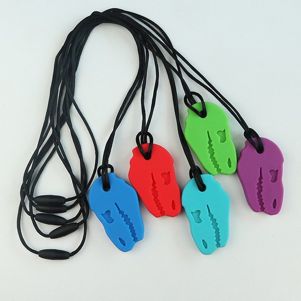 best selling Sensory Chew Necklace Dino Bite Teethers Food Grade Silicone Dinosaur Skull Teething Necklace for Kids Boys Girls Chewing Autism Toys