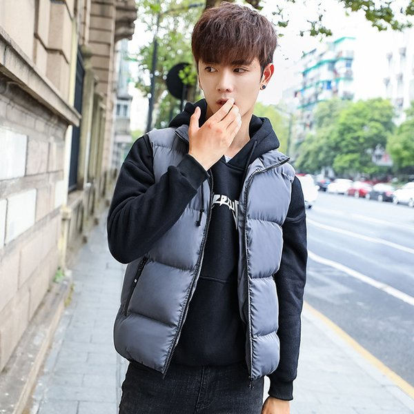 Pop2019 And Loose Coat Down Cotton Cool Time Vest Man Korean Trend Handsome Will Code Waistcoat