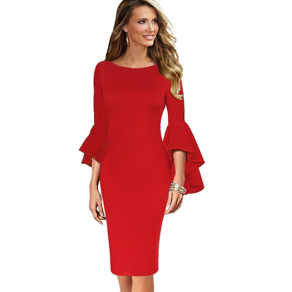 Vfemage Women Autumn Elegant Long Flare Bell Sleeve Fashion Vintage Pinup Formal Party Cocktail Bodycon Pencil Sheath Dress 8350 J190601