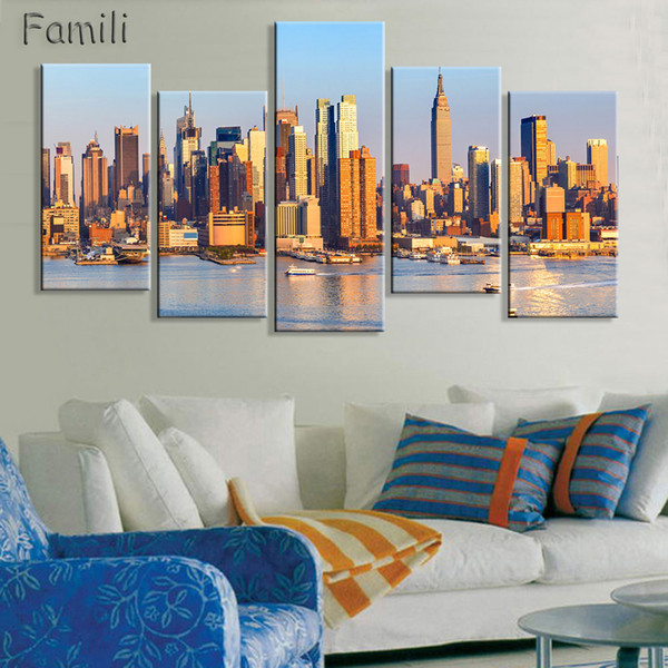 5 Panel Framed Printed brooklyn manhattan new york Painting children's room decor print poster picture canvas egyptian decor