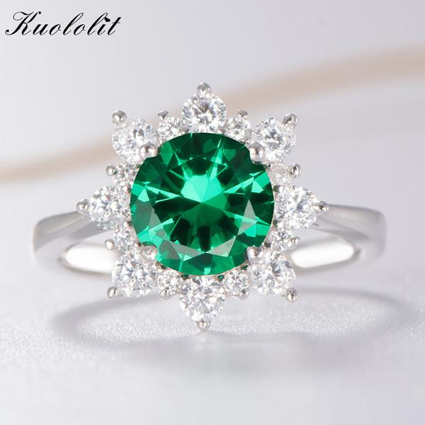 Anelli di lusso dello smeraldo dello spinello di Kuololit per le donne 925 gioielli dell'argento sterlina di nozze anello di pietra preziosa di maggio Regalo romantico
