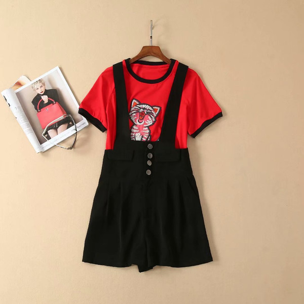 New clothes for women in Europe and America for the summer of 2019 The cat embroiders a red T-shirt suspender trousers suit