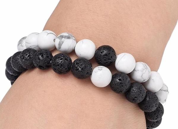 Mulheres Homens Natural Lava Rock Beads Chakra pulseiras Cura Energia pedra Meditação Mala Pulseira Moda Essencial DHL Jóias Oil Difusor