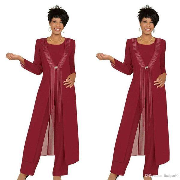 2019 drei Stück Crimson Mutter der Braut Hose Anzüge mit Jacke Chiffon Custom Langarm Hochzeit Gast Kleid Outfit