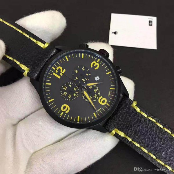 T116 Chronograph Quartz Best Sport Men Watch Glamorous Wristwatches Outdoor Mens Watches With Yellow Leather Strap and Markers
