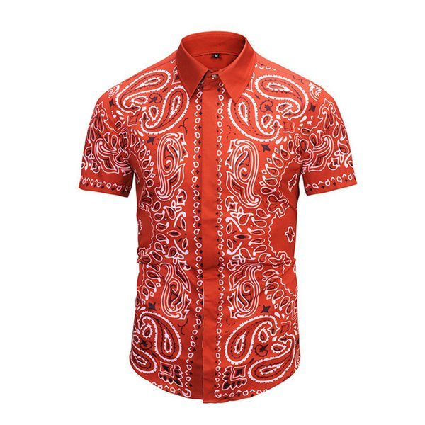 2018 Summer New Pattern Korean Edition Pure Color Red Slim Short Sleeve Shirt Style Leisure Time Male