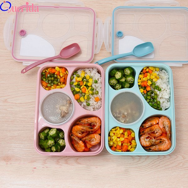 Korean Lunch Box Microwave Tableware Bento Food Container Health Natural 5 Grid Student Portable Food Storage Plastic Food Box C18112301