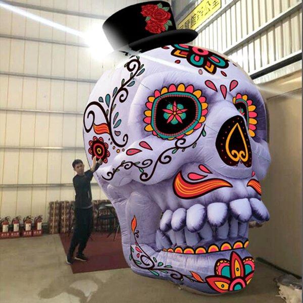 Masque facial gonflable de tête de squelette de crâne gonflable de décoration de Halloween folle