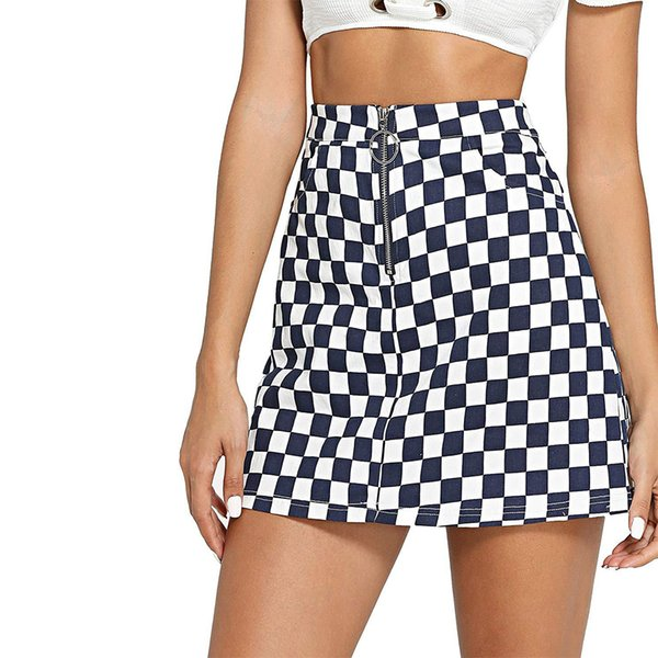 Joineles Women Mini Skirts Spring Summer Ring Zip Up Plaid Skirts Casual A-Line Party 2019 New Femme Vestidos