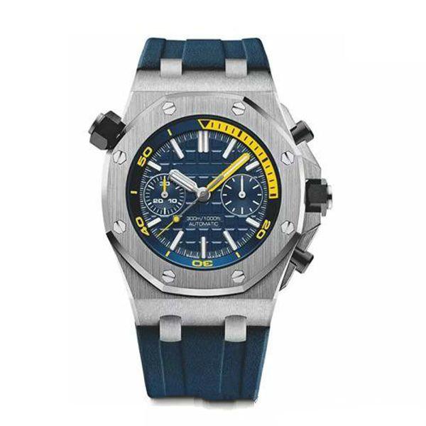 Novo Top Mens Relógio De Quartzo Movimento Vk Cronógrafo Colorido Relógio De Pulso De Borracha Strap Sports Men Relógios Masculino Relógio De Pulso