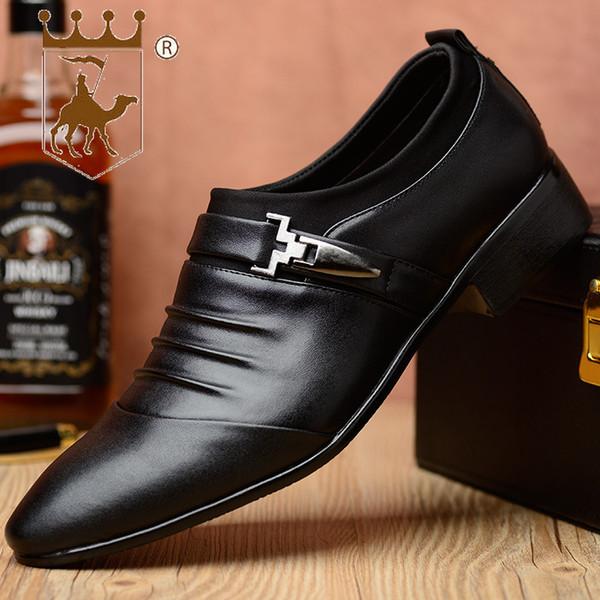 BACKCAMEL 2018 Novo Sapatos Rasos Business Casual Sapatos Masculinos Moda Britânica Apontou Soco Grande CodeSIZE39-48 Homens Vestido