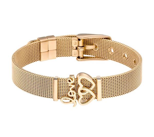 Braccialetto in acciaio inossidabile elegante con cinturino a maglie a forma di cuore con braccialetti di fascino con bracciale in gomma Preventer DIY