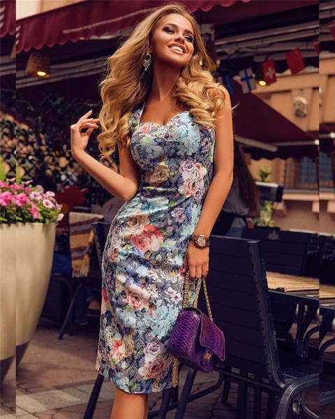 Womens Summer Sexy Sleeveless Floral Print Racerback Midi Dresses T Shirt Dress Tank Top Dress