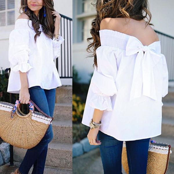 Sommer-weiße elegante Frauen-Blusen-Hemden-Hülsen-Bogen-Hieb-Ansatz weg von den Schulter-Oberseiten beiläufige lose Blusas