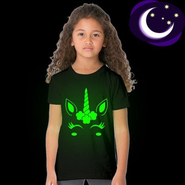 Ins Son Bebek Çocuk giyim Yaz Erkek Siyah Led Işık aydınlık Rock band Işık Karanlık gömlek Tasarım unicorn T-shirt blok gömlek