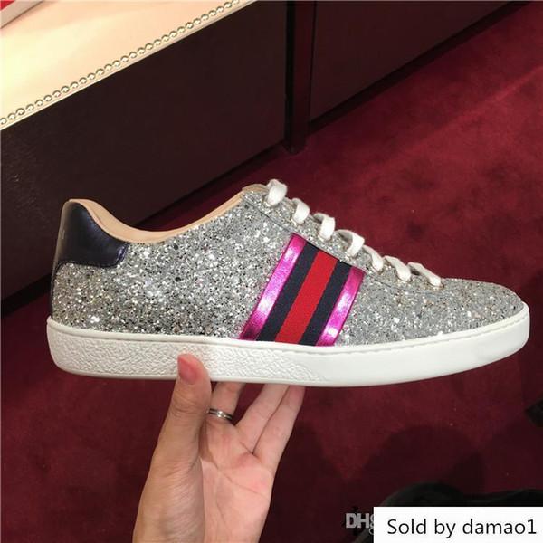 Großhandel Frauen Designer Sneaker Flash Silber Gummi Dame Alleinige Luxus Lässig Ace Schuhe 35 40 Von Damao1, $36.25 Auf De.Dhgate.Com | Dhgate