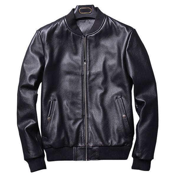 2018 Sonbahar Moda Gerçek Deri Ceket Erkekler Klasik Bombacı Tarzı Motorcy Hakiki Deri Ceket Erkekler Siyah Koyun Derisi Yeni 2