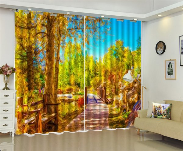 3d Curtain Beautiful Oil Painting Landscape Quiet Path 3D Landscape Curtains Living Room Bedroom Beautiful Practical Blackout Curtains