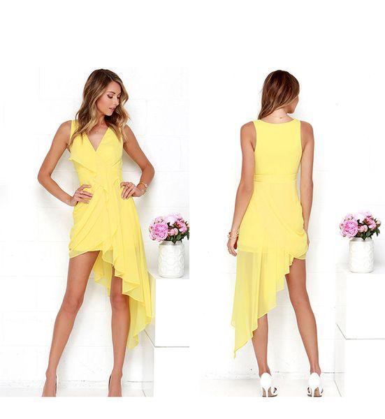 V-образный вырез желтой моды сладкое европейское и американское платье нерегулярные длинные юбки vestido