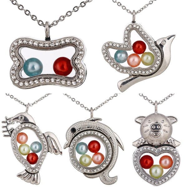 Paloma de la paz de color plateado Delfines AMOR Corazón de cerdo Hueso de perro Diamante de imitación Magnético Locket flotante Colgantes Mujeres Encantos Collar