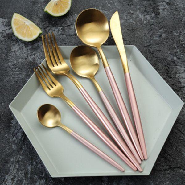 4pcs/set Western Dinnerware Set Stainless Steel Fork Knife Spoon Cutlery Set Portugal Tableware Modern Dinner Set