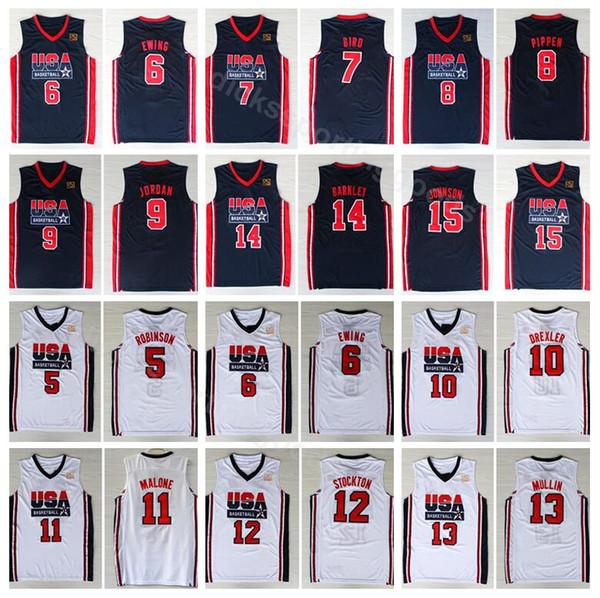 Üniversite 1992 ABD Takım Bir Basketbol 12 John Stockton Forması 4 Christian Laettner 11 Karl Malone 13