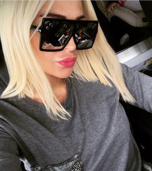 Oversized Sunglasses Women Big Frame Square Sun Glasses Men Brand Designer New Vintage Gradient Shades Women Eyewear NO LOGO 10PCS Promotion